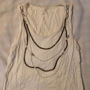 """White blouse with beaded """"necklace"""" detail"""